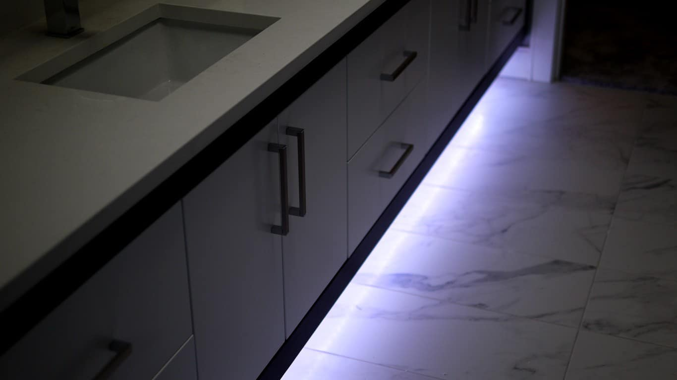 LED underlit vanity cabinet. What is your colour today?